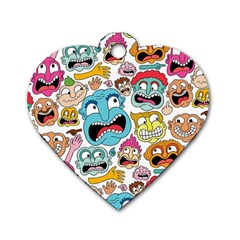 Weird Faces Pattern Dog Tag Heart (Two Sides)