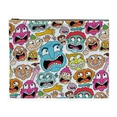 Weird Faces Pattern Cosmetic Bag (XL)