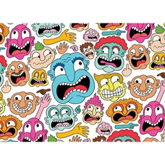Weird Faces Pattern Birthday Cake 3D Greeting Card (7x5)