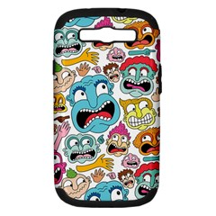 Weird Faces Pattern Samsung Galaxy S III Hardshell Case (PC+Silicone)