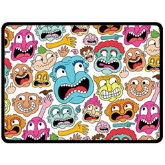 Weird Faces Pattern Double Sided Fleece Blanket (Large)
