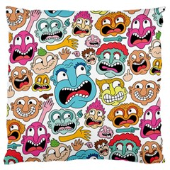 Weird Faces Pattern Large Flano Cushion Case (One Side)