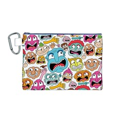 Weird Faces Pattern Canvas Cosmetic Bag (M)