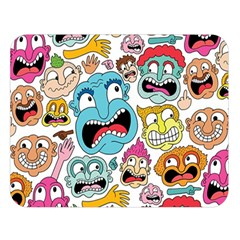 Weird Faces Pattern Double Sided Flano Blanket (Large)