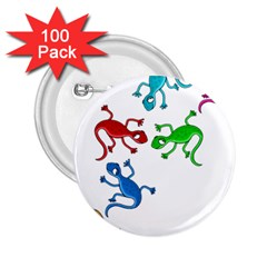 Colorful lizards 2.25  Buttons (100 pack)