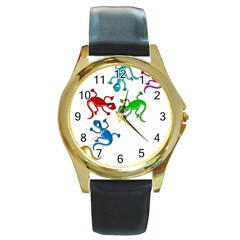 Colorful lizards Round Gold Metal Watch
