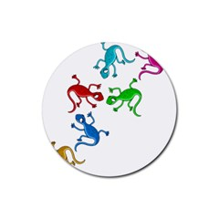 Colorful lizards Rubber Round Coaster (4 pack)