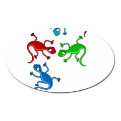 Colorful lizards Oval Magnet