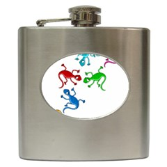 Colorful lizards Hip Flask (6 oz)