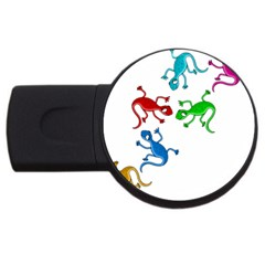 Colorful lizards USB Flash Drive Round (2 GB)