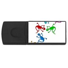 Colorful lizards USB Flash Drive Rectangular (1 GB)
