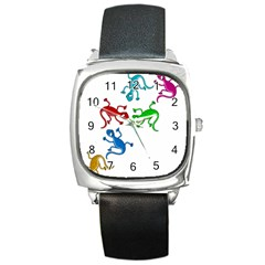 Colorful lizards Square Metal Watch