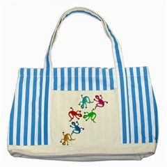 Colorful lizards Striped Blue Tote Bag
