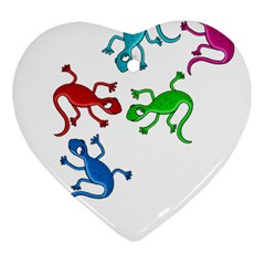 Colorful lizards Heart Ornament (2 Sides)