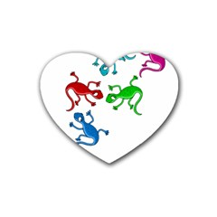 Colorful lizards Rubber Coaster (Heart)