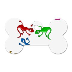 Colorful lizards Dog Tag Bone (Two Sides)