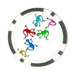 Colorful lizards Poker Chip Card Guards