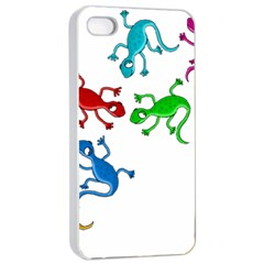 Colorful lizards Apple iPhone 4/4s Seamless Case (White)