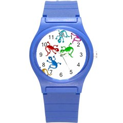 Colorful lizards Round Plastic Sport Watch (S)