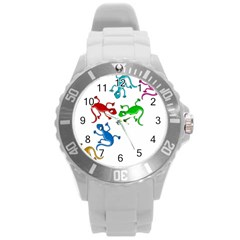 Colorful lizards Round Plastic Sport Watch (L)