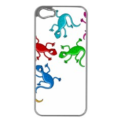 Colorful lizards Apple iPhone 5 Case (Silver)