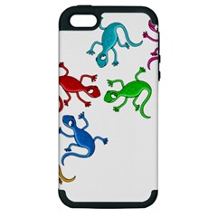 Colorful lizards Apple iPhone 5 Hardshell Case (PC+Silicone)