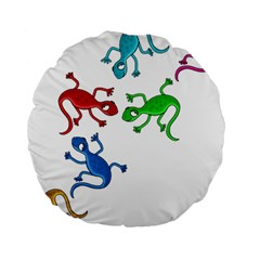 Colorful lizards Standard 15  Premium Round Cushions