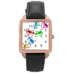 Colorful lizards Rose Gold Leather Watch