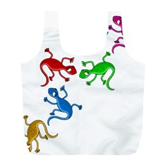 Colorful lizards Full Print Recycle Bags (L)