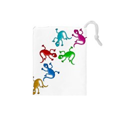 Colorful lizards Drawstring Pouches (Small)
