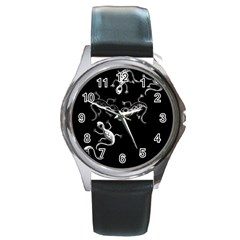 Black and white lizards Round Metal Watch
