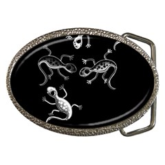 Black and white lizards Belt Buckles