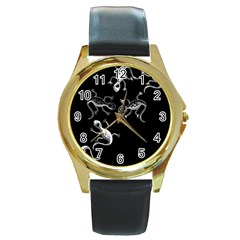 Black and white lizards Round Gold Metal Watch