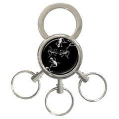 Black and white lizards 3-Ring Key Chains