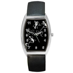 Black and white lizards Barrel Style Metal Watch