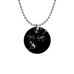 Black and white lizards Button Necklaces