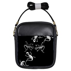 Black and white lizards Girls Sling Bags