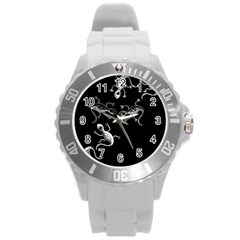 Black and white lizards Round Plastic Sport Watch (L)