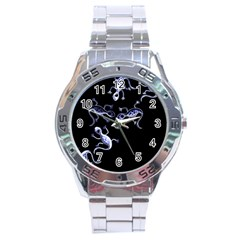 Blue decorative artistic lizards Stainless Steel Analogue Watch