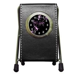 Purple lizards Pen Holder Desk Clocks