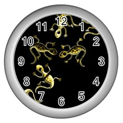 Yellow lizards Wall Clocks (Silver)
