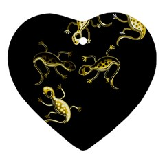 Yellow lizards Heart Ornament (2 Sides)
