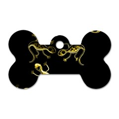 Yellow lizards Dog Tag Bone (One Side)