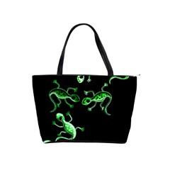 Green lizards Shoulder Handbags