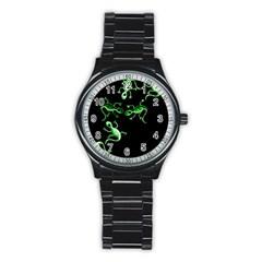 Green lizards Stainless Steel Round Watch