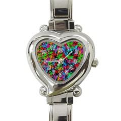 Lizard pattern Heart Italian Charm Watch
