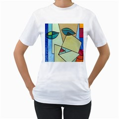 Abstract Art Face Women s T-Shirt (White) (Two Sided)