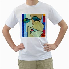 Abstract Art Face Men s T-Shirt (White) (Two Sided)