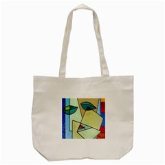 Abstract Art Face Tote Bag (Cream)