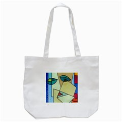Abstract Art Face Tote Bag (White)